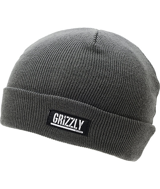 Diamond Supply x Grizzly Grip Tape Stamp Charcoal Cuff Beanie