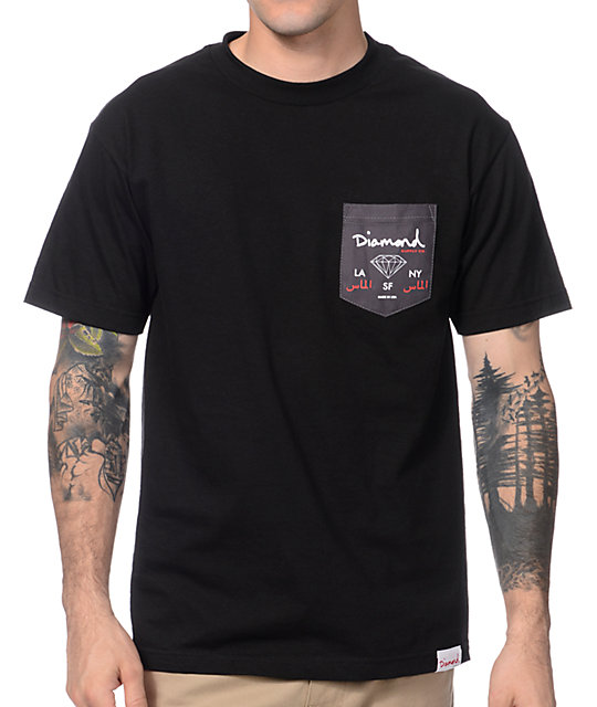Diamond Suppy Co City Label Black Pocket T-Shirt