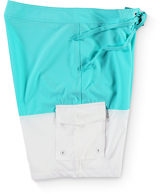 Diamond Un-Polo Mint and White Board Shorts