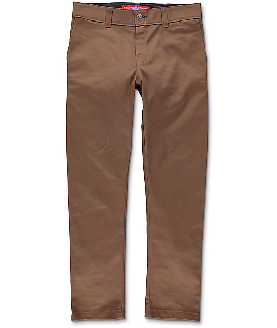 Dickies Pivot Tek Brown Twill Tapered Pants