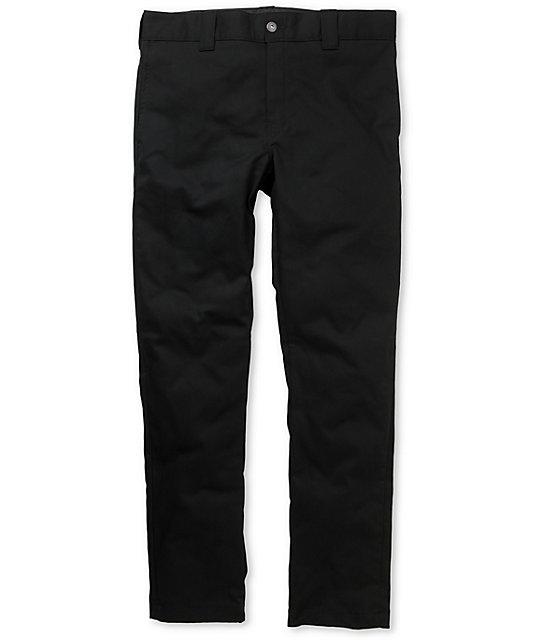 Slim Skinny Fit Black Twill Work Pants