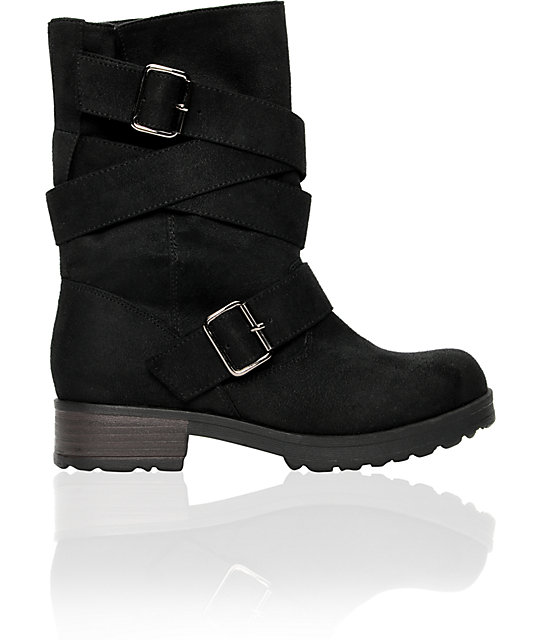 laundry noted black suede boot