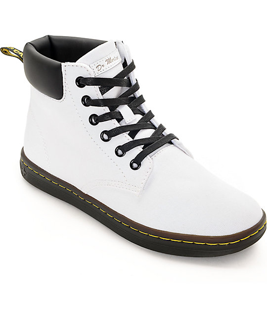 Martens Maelly White Canvas Boots