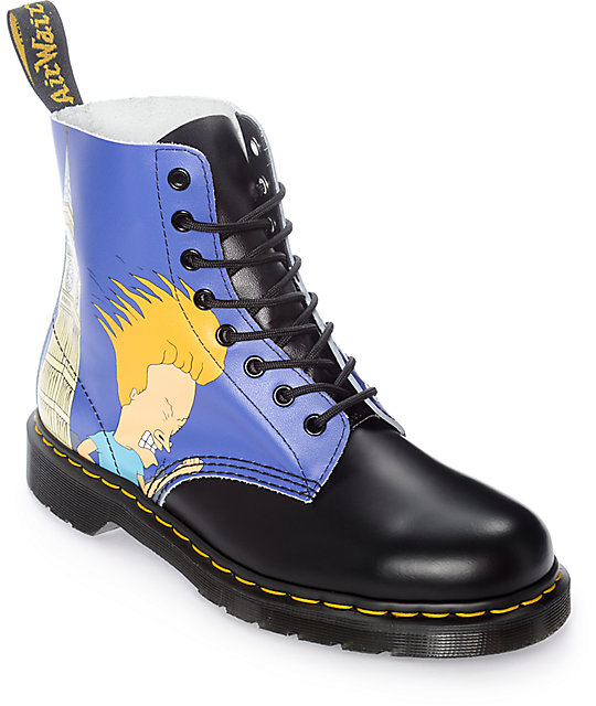 dr martens pascal beavis and butthead black blue boots. Black Bedroom Furniture Sets. Home Design Ideas