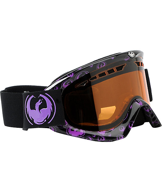 Dragon DX Purple Icon & Amber Snowboard Goggles