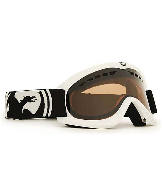 Dragon DX White & Amber Snowboard Goggles