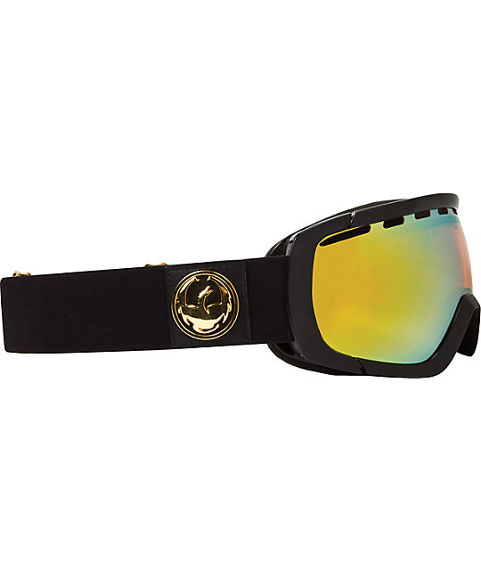 Dragon Rogue Jet Black & Gold Ion Snowboard Goggles