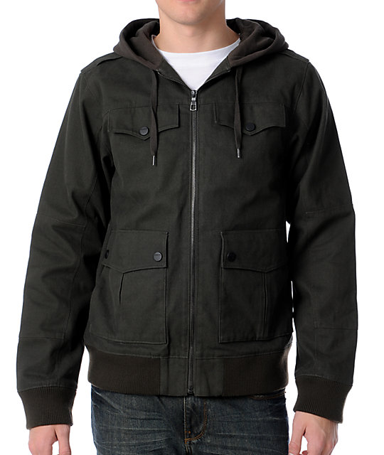Dravus Annihilate Green Canvas Mens Hooded Bomber Jacket at Zumiez ...