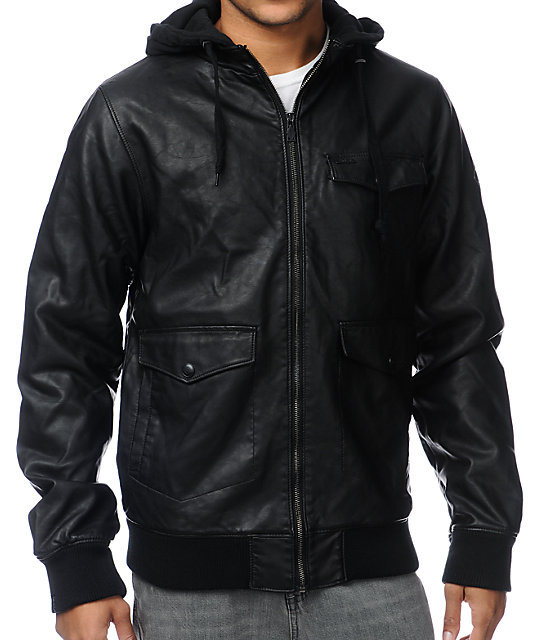 Dravus Assault Black Hooded Faux Leather Jacket at Zumiez : PDP