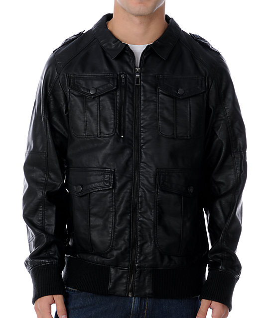 Dravus Backcut Black Faux Leather Jacket