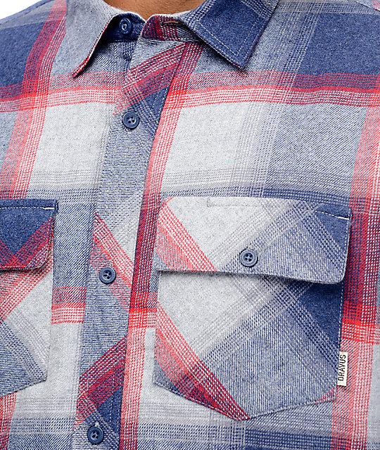 Dravus Benny Blue, Grey & Burgundy Sherpa Flannel Shirt