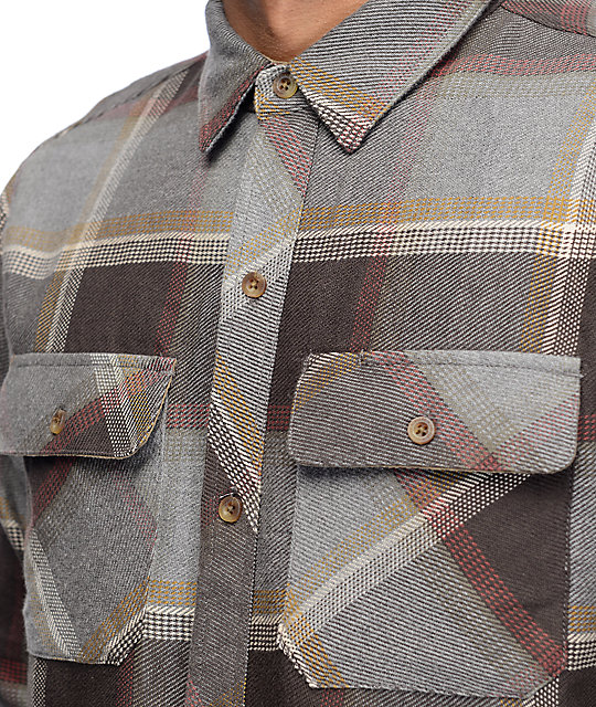 Dravus Bobby Charcoal, Khaki & Burgundy Flannel Shirt