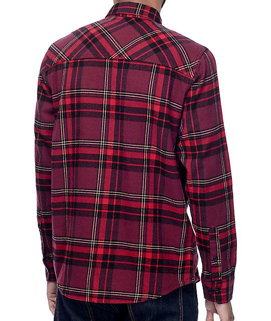 Dravus Brian Burgundy, Red & Black Flannel Shirt