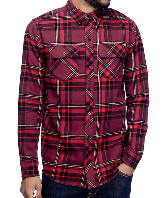 Brian Burgundy, Red & Black Flannel Shirt