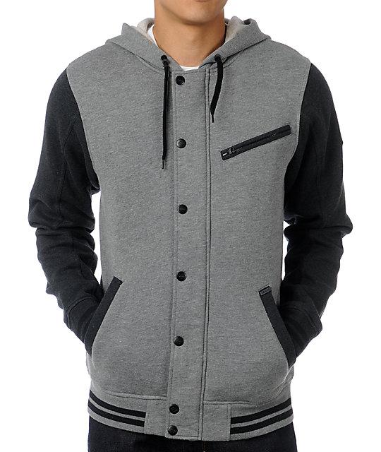 Dravus Cain Grey & Charcoal Hooded Varsity Jacket