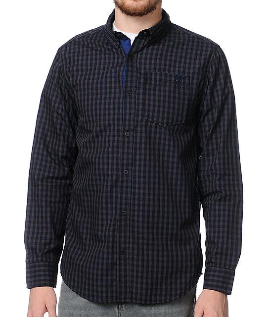 Dravus Check It Black Plaid Long Sleeve Woven Shirt