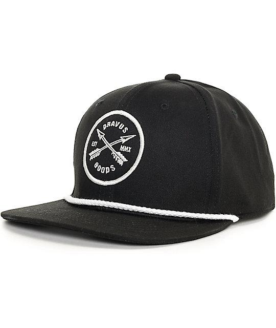 Dravus Crossed Rope Black Snapback Hat