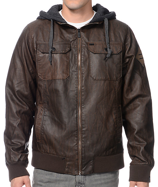Dravus Cyrus Brown Faux Leather Hooded Jacket | Zumiez