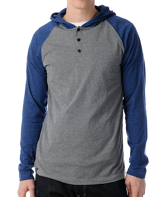 Dravus Defense Grey & Blue Hooded Henley Baseball Shirt