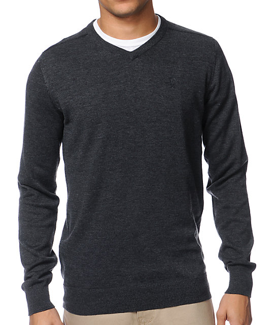 Dravus Detroit Charcoal Grey V-Neck Sweater