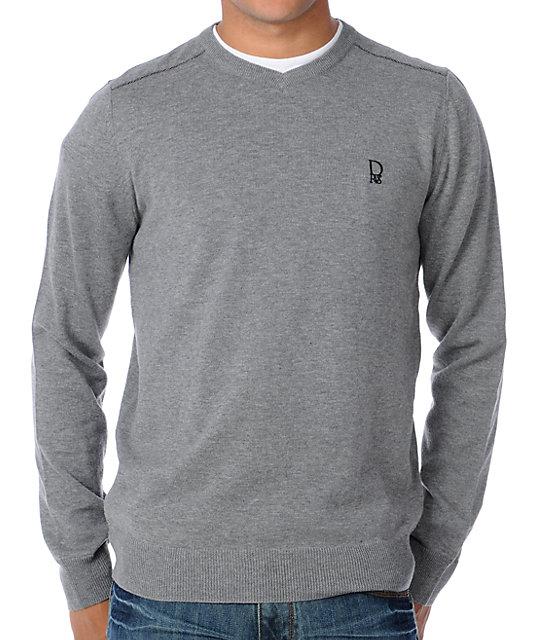 Dravus Detroit Grey V-Neck Sweater