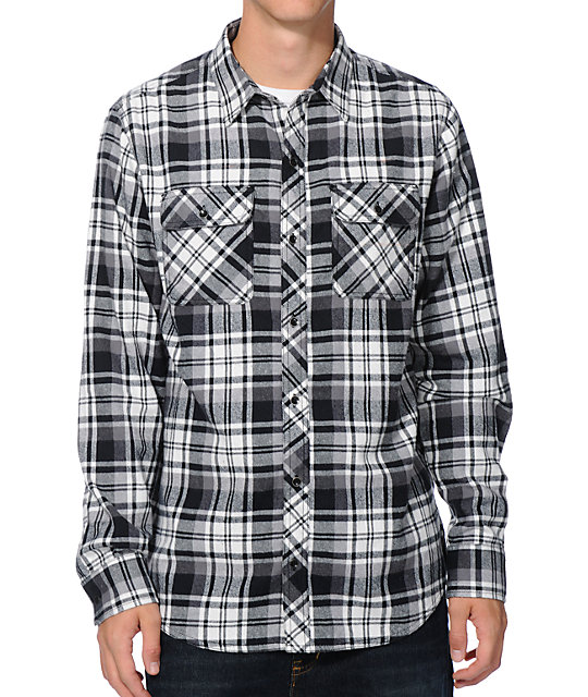 Dravus dominion black white plaid long sleeve flannel for Black and white checker shirt