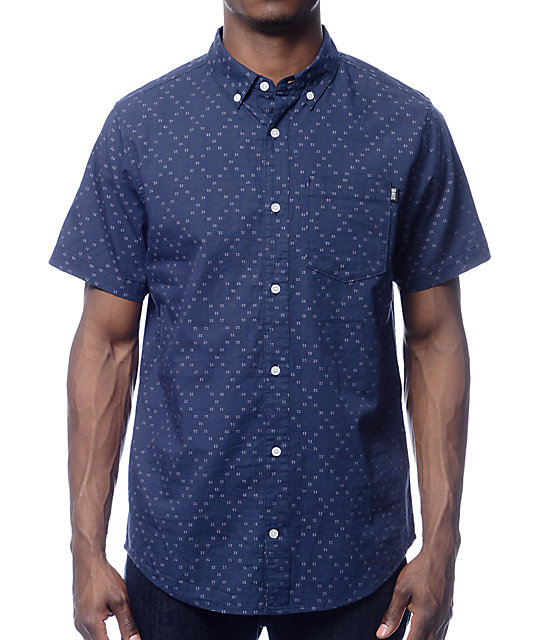 Dravus Donald Navy Dobby Button Up Shirt