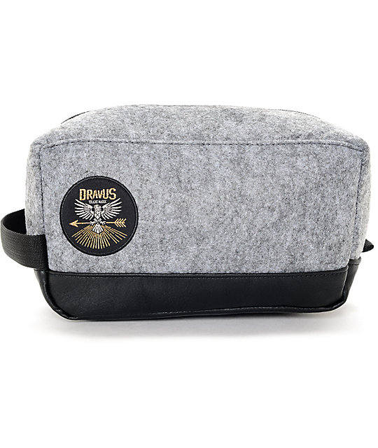 Dravus Dopp Grey Faux Wool Travel Bag
