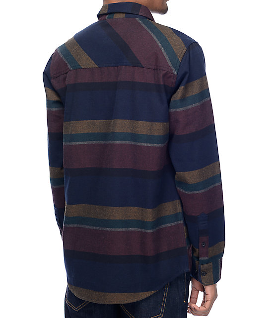 Dravus Drey Navy, Burgundy & Black Flannel Shirt