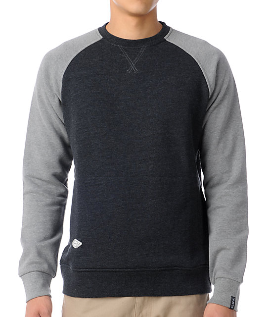 Dravus Edison Charcoal Fleece Crew Neck Sweatshirt