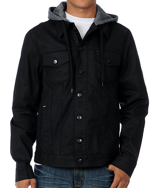 Dravus Evolution Black Waxed Mens Hooded Jean Jacket at Zumiez : PDP