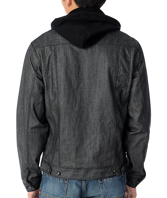 Dravus Evolution Mens Grey Hooded Jean Jacket