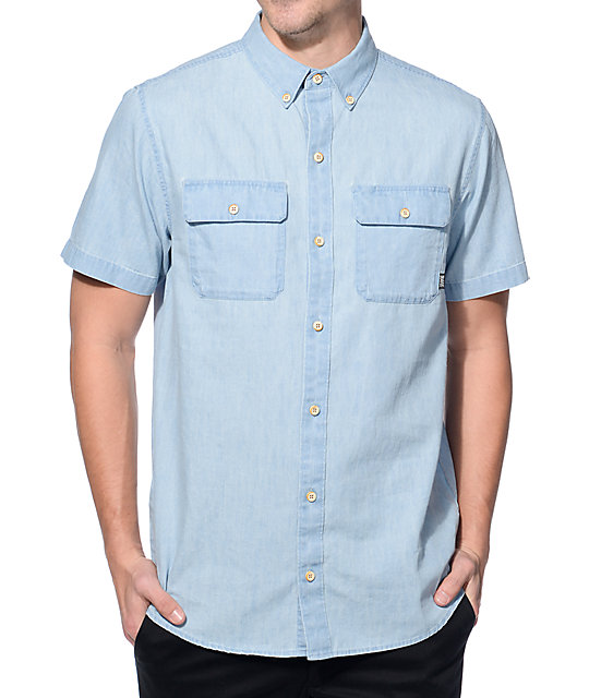 Dravus felix blue denim button up work shirt at zumiez pdp for Blue button up work shirt