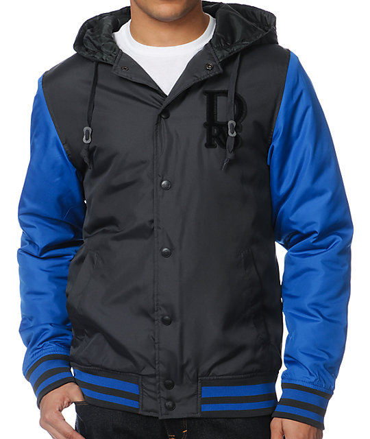 Dravus Fraser Charcoal & Blue Insulated Varsity Jacket