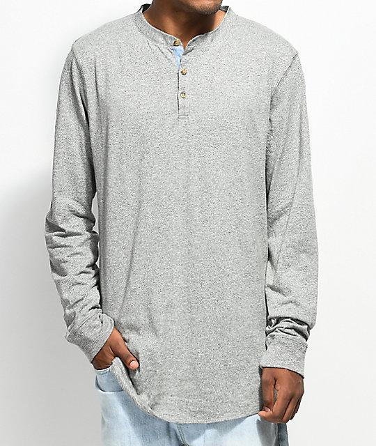 Dravus Gabe Heather Grey Long Sleeve Henley T-Shirt