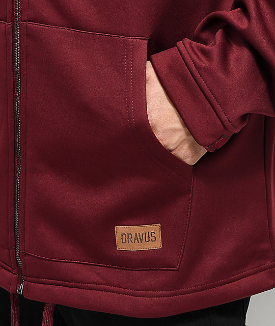 Dravus Grays Burgundy Zip Up Tech Fleece Hoodie