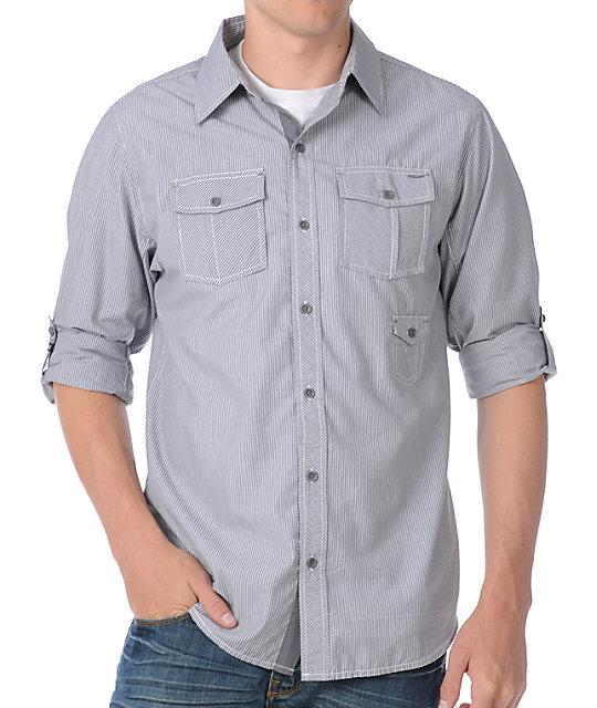 Dravus Greased Grey Woven Long Sleeve Shirt