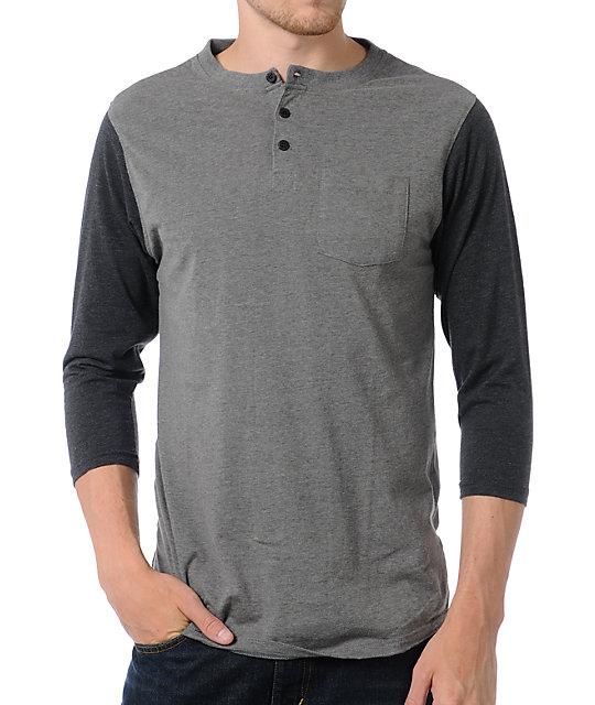 Dravus Hijack Grey & Charcoal Henley Baseball T-Shirt