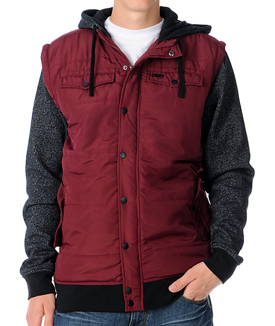 Dravus Hitman Dark Red Quilted Vest Hoodie