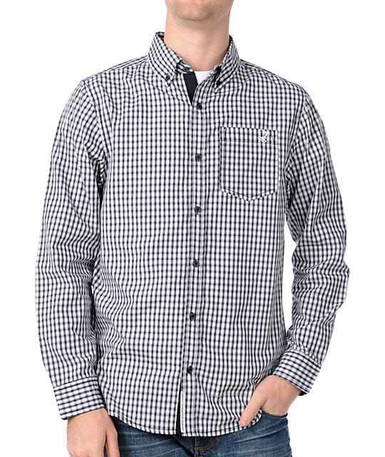 Dravus In Pursuit Black & White Long Sleeve Woven Shirt
