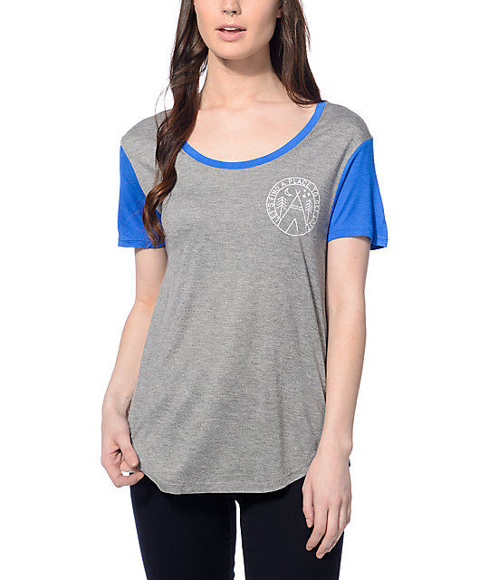 Dravus Jemma Grey & Blue Patch T-Shirt