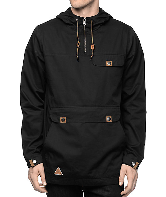 Dravus Jungle Black Twill Anorak Pullover Jacket | Zumiez