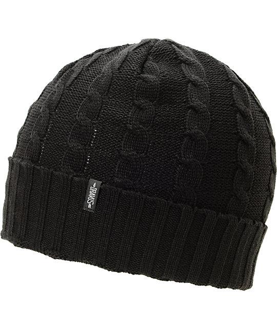 Dravus Kodey Black Cable Knit Cuff Beanie