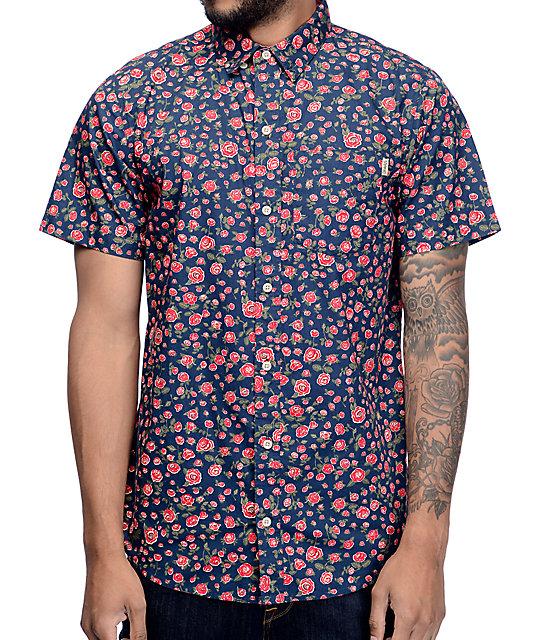 Dravus Landon Rose Navy Button Up Shirt