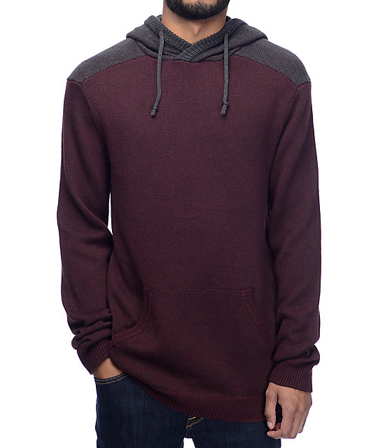 Dravus Mahlon Crossneck Burgundy & Charcoal Hooded Sweater | Zumiez