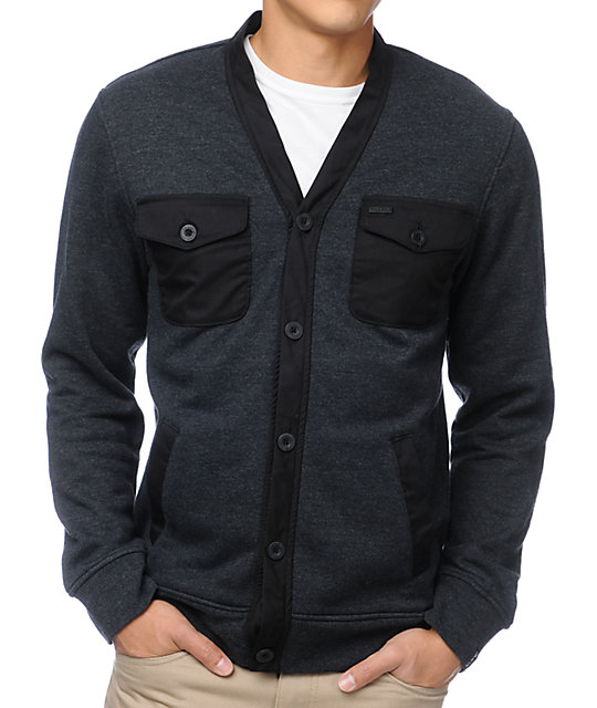 Dravus Mandigan Heather Black Fleece Cardigan Sweater