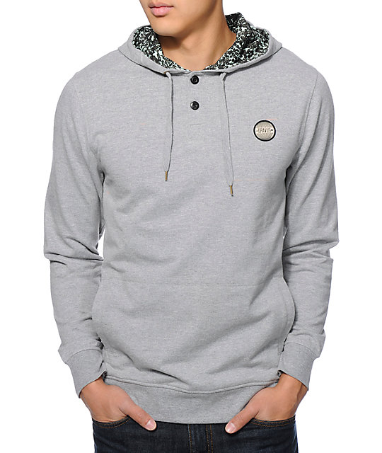Dravus Mantua Grey Long Sleeve Hooded Henley Shirt