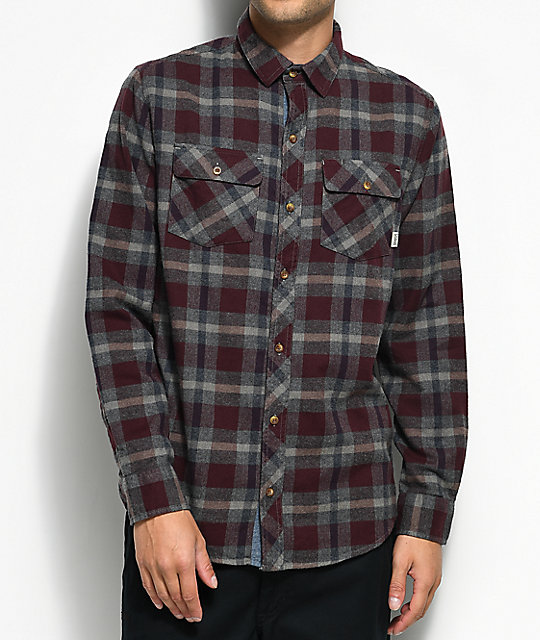 Dravus Mark Burgundy, Navy & Charcoal Flannel Shirt