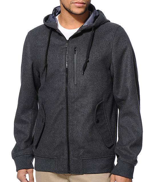 Dravus Nelson Charcoal Wool Bomber Jacket