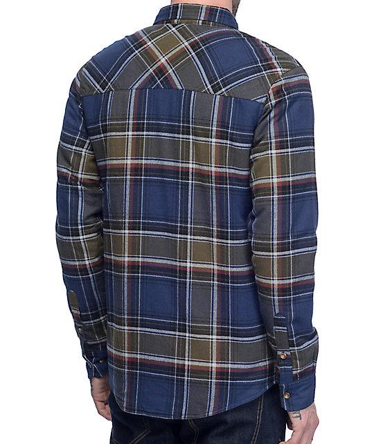 Dravus Olive & Navy Sherpa Flannel Shirt